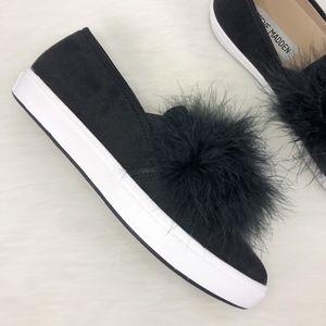 6c894385cdf Steve Madden Emily Faux Fur Black Slip-On Sneaker NWT